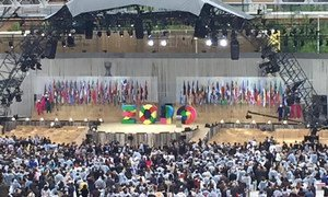 Flags of participating countries and international organizations on stage as Expo 2015 Milano officially started.