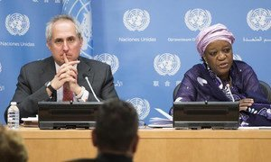 Special Representative of the Secretary-General on Sexual Violence in Conflict, Zainab Bangura briefs the press. At left is Stéphane Dujarric, spokesperson for the Secretary-General.