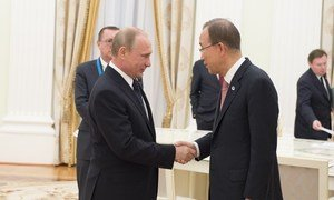Secretary-General Ban Ki-moon and President of Russian Federation Vladimir Putin in Moscow to mark 70th anniversary of the end of the Second World War in Europe.