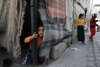 Children in a refugee camp in Khan Yunis, Gaza.