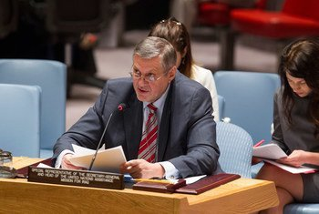 秘书长伊拉克事务特别代表扬·库比什在安理会进行工作通报。联合国图片/Loey Felipe