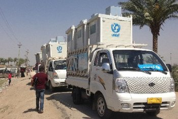 Distribution de services d'assainissement par l'UNICEF à Ramadi, en Iraq. Photo UNICEF Iraq