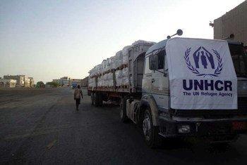 Un convoi d'aide du HCR au Yémen. Photo HCR