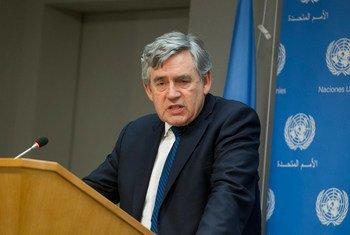 L'Envoyé spécial de l'ONU pour l'éducation mondiale, Gordon Brown, en 2015. Photo ONU/Loey Felipe