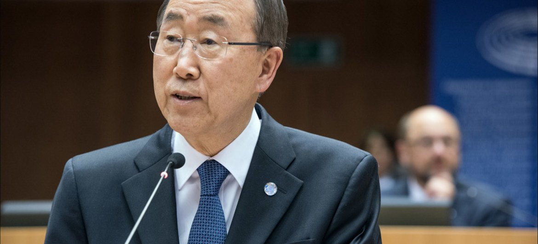 Secretary-General Ban Ki-moon addresses the European Parliament in Brussels, Belgium.