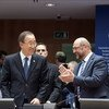 Secretary-General Ban Ki-moon with the President of the European Parliament, Martin Schulz, in Brussels, Belgium.