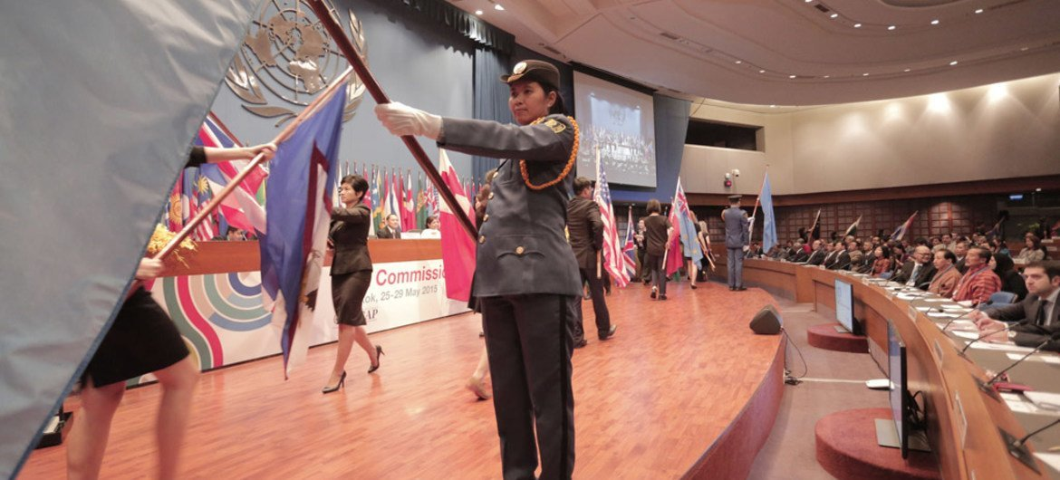 The parade ceremony preceded the ministerial segment of the 71st session of the United Nations Economic and Social Commission for Asia and the Pacific (ESCAP) in Bangkok, Thailand.