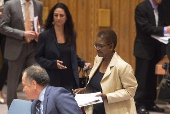 Under-Secretary-General for Humanitarian Affairs and Emergency Relief Coordinator Valerie Amos arrives for a briefing to the Security Council on Syria.