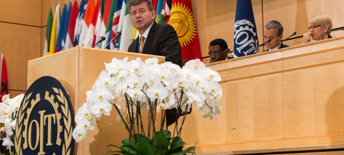 ILO Director-General Guy Ryder addresses the 104th International Labour Conference (ILC) in Geneva.