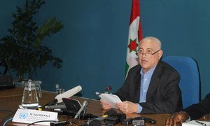 Special Envoy for the Great Lakes, Said Djinnit speaks to the press in Bujumbura, Burundi on 29 May 2015.