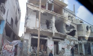 Homes damaged in Gaza during the devastating conflict in 2014.