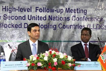 High Representative for the Least Developed Countries, Landlocked Developing Countries and Small Island Developing States, Gyan Chandra (left) and President Edgar Lungu of Zambia at the high-level meeting with representatives from the world's 32 Landlocked Developing Countries in Livingstone, Zambia.