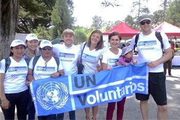 Piera Zuccherin (second from right) with other UN volunteers during the celebration of World Rural Woman's Day in Ecuador in 2014.
