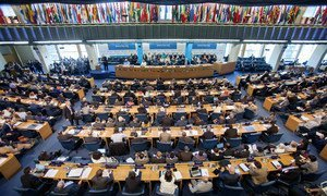 A wide view of the Plenary Hall during the opening of the FAO Conference in Rome.
