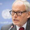 Special Representative for Somalia Nicholas Kay briefs the press at UN Headquarters in New York.