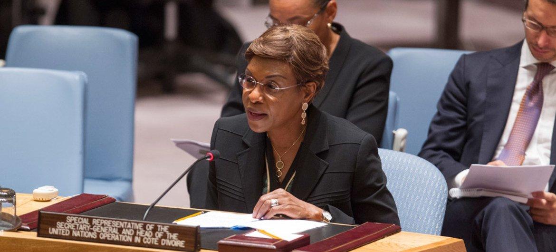 La Représentante spéciale du Secrétaire général en Côte d'Ivoire, Aïchatou Mindaoudou, devant le Conseil de sécurité. Photo ONU/Loey Felipe