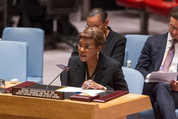 Special Representative and Head of the United Nations Operation in Côte d'Ivoire (UNOCI), Aïchatou Mindaoudou Souleymane, briefs the Security Council.