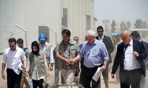 New UN Emergency Relief Coordinator and Under-Secretary-General for Humanitarian Affairs (OCHA), Stephen O'Brien (second right), in Erbil during a two-day visit to Iraq.