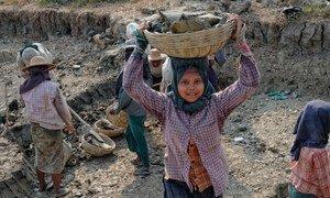 缅甸的童工。