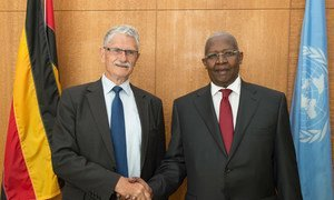 Sam Kutesa (right), President of the 69th session of the General Assembly, meets with Mogens Lykketoft, Speaker of the Parliament of Denmark and President-designate of the General Assembly's 70th session.