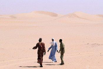 Des personnes marchant dans le désert.