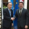 Secretary-General Ban Ki-moon (left) meets with Xavier Bettel, Prime Minister of Luxembourg.