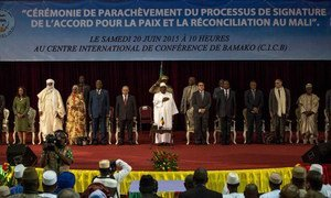Participants at the signing of the Agreement for Peace and Reconciliation in Mali by the Coordination coalition of armed groups in Bamako.