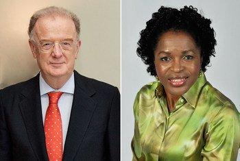 """首届""""联合国纳尔逊·罗利拉拉·曼德拉奖""""的两位获奖者。联合国图片/Ryan Brown and Helena Ndume"""