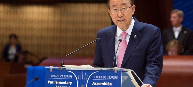 Le Secrétaire général des Nations Unies, Ban Ki-moon, lors de son discours à l'Assemblée parlementaire du Conseil de l'Europe. Photo : ONU / Eskinder Debebe