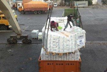 Доставка  чрезвычайной помощи в  порт Ходейда в Йемене. Фото  УВКБ