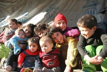 Des enfants dans le camp de Tesreen, à Alep, en Syrie. Photo OCHA/Josephine Guerrero