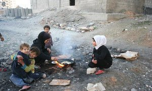 A meal being prepared at the Al-Riad shelter, Aleppo, Syria.