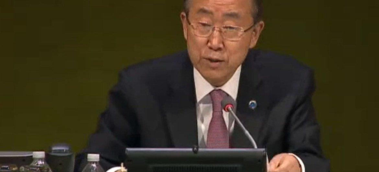 Ban Ki-moon Foto de archivo: Captura de video de ONU Webcast