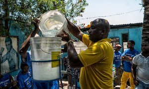 A water filtration systems programme in Haiti being demonstrated to community leaders (April 2014).