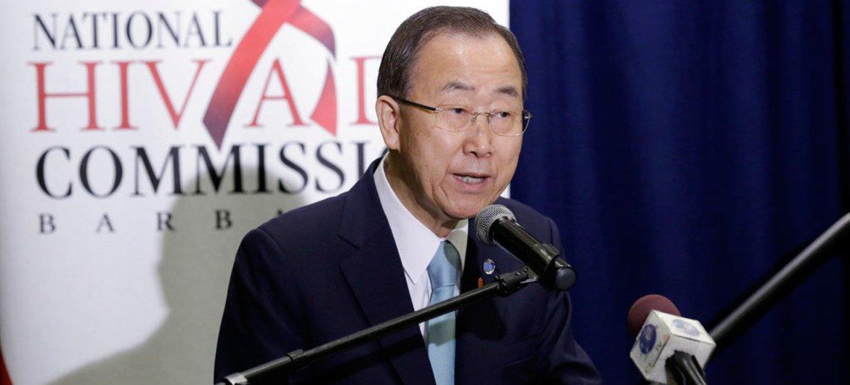 Secretary-General Ban Ki-moon delivers remarks at launch of UNAIDS/Lancet report. Bridgetown, Barbados, July 2015.