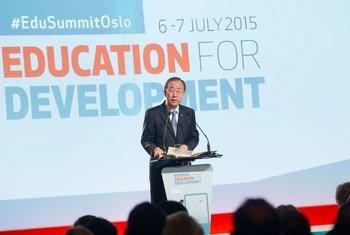 Secretary-General Ban Ki-moon addresses the opening of the Oslo Summit on Education for Development.