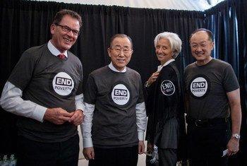 Christine Lagarde, no centro, com o ex-secretário-geral da ONU Ban Ki-Moon