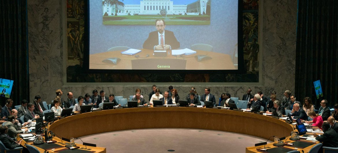 UN High Commissioner for Human Rights, Zeid Ra'ad Al Hussein, briefs the Security Council.
