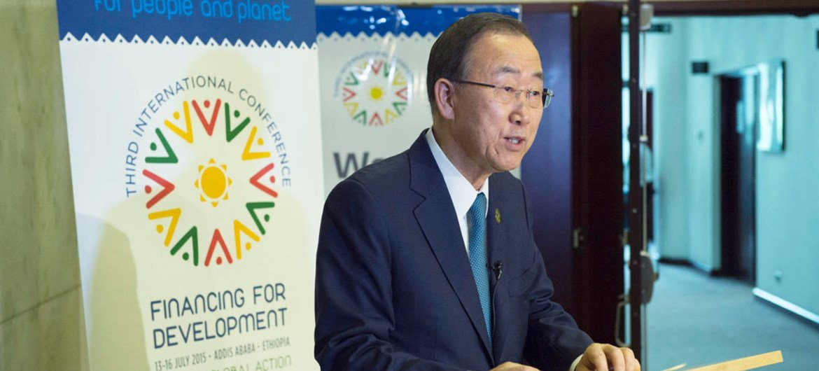 Secretary-General Ban Ki-moon speaks to the press on the agreement between the P5+1 and the Islamic Republic of Iran.