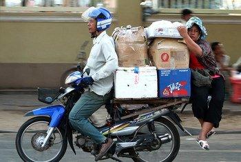 Street scene in Phnom Penh, the capital of Cambodia.