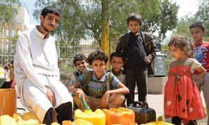 Residents of Sana'a, capital of Yemen, collecting water at one of the few public distribution points, as most water pumps across the city are no longer working because of the fuel shortages.