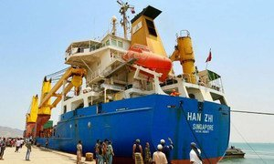 The MV Han Zhi carrying enough food to feed 180,000 people for one month docked on 21 July 2015 at Aden's oil port of Al-Buraiqa, Yemen.