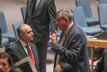 Le Représentant spécial pour l'Iraq (à droite), Jan Kubis, avec l'ambassadeur d'Iraq, Mohamed Ali Alhakim avant une réunion du Conseil de sécurité. Photo ONU/Devra Berkowitz