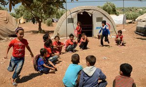 Children play games at Atmeh IDP camp in Idlib province, north Syria.