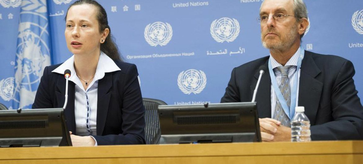 Press conference by Elzbieta Karska (left), head of the UN Working Group on the use of mercenaries and group member Gabor Rona.