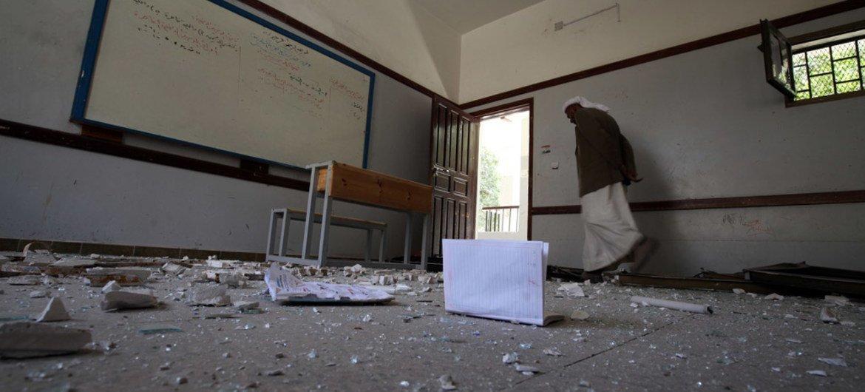Школа в столице Йемена Сане, разрушенная бомбардировкой. Фото ЮНИСЕФ/Мохаммед Махмуд