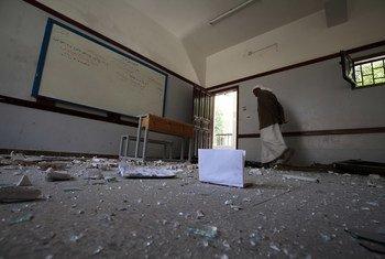 Una escuela en Sana´a, Yemen, dañada por un bombardeo  Foto UNICEF/ Mohammed Mahmoud