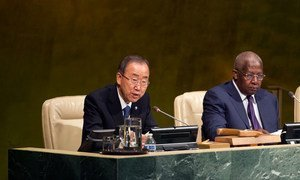 Secretary-General Ban Ki-moon addresses the General Assembly on the Consideration of the Addis Ababa Action Agenda.