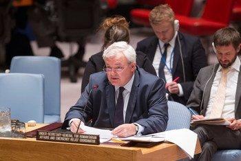 El coordinador de Ayuda Humanitaria, Stephen O´Brien,  en el Consejo de Seguridad.  Foto de archivo: ONU/Loey Felipe
