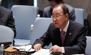 Secretary-General Ban Ki-moon addresses the Security Council meeting on the situation in Syria.